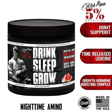 Picture of Rich Piana  5% Nutrition DRINK SLEEP GROW NIGHTTIME AMINOS, Lemon Lime,  30 Servings  15.87 oz